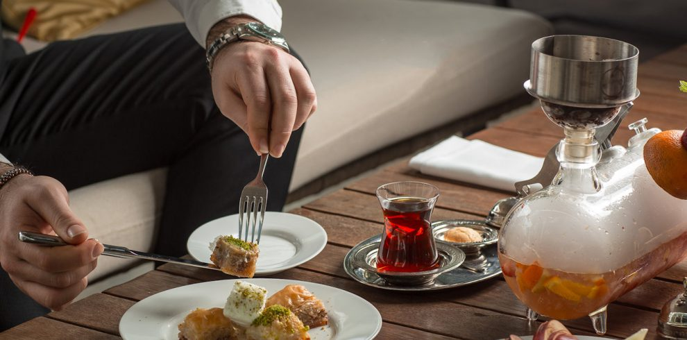 turkish delight with black tea on the table
